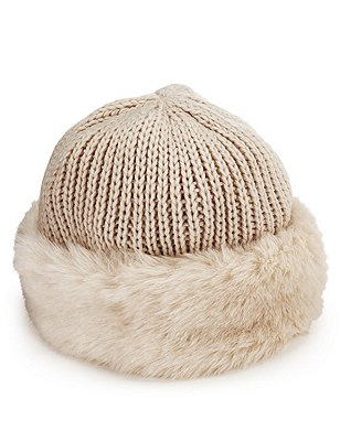 Faux Fur Trim Knitted Hat, CREAM, catlanding