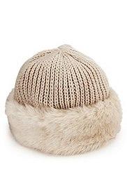 Faux Fur Trim Knitted Hat, CREAM, catlanding