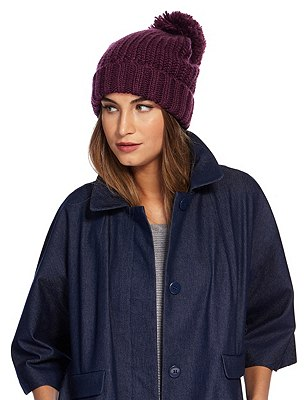 Ribbed Bobble Hat, PURPLE, catlanding