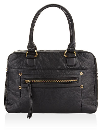 Soft Leather Front Zip Tote Bag