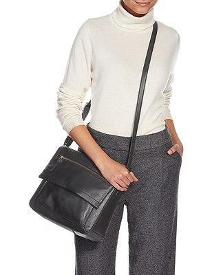 Leather Front Zip Messenger Bag, BLACK, catlanding