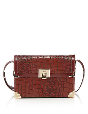 Faux Leather Mock Crocodile Skin Boxy Shoulder Bag