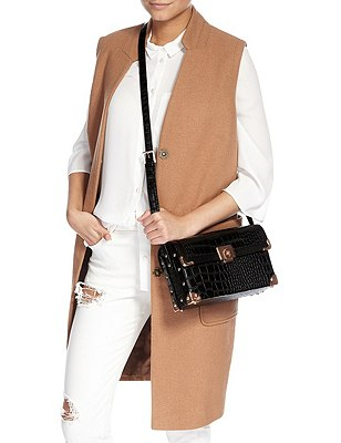 Faux Leather Mock Crocodile Skin Boxy Shoulder Bag, BLACK MIX, catlanding