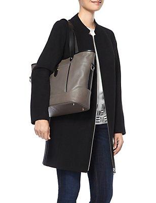 Einkaufstasche aus Leder mit Kontrastrand, , catlanding