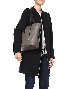 Leather Contrast Trim Shopper Bag, , catlanding