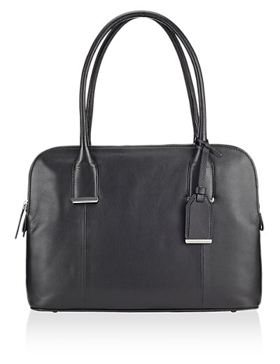 M&S A4 and laptop Black leather tote bag