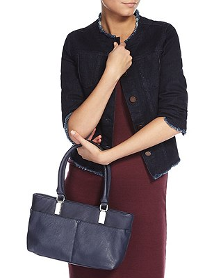 Faux Leather Double Pocket Mini Shoulder Bag, NAVY, catlanding