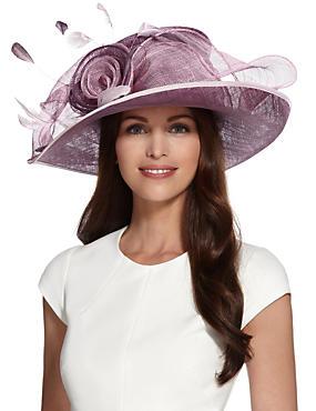 Sombrero de ala ancha con diseño de malla y rosa grande, MEZCLA DE TONOS LILA, catlanding