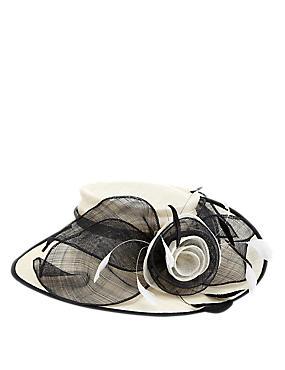 Big Rose & Mesh Wide Brim Hat, CREAM MIX, catlanding