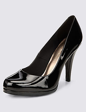 Stiletto High Heel Platform Court Shoes with Insolia®, BLACK PATENT, catlanding