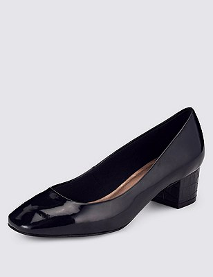 Square Toe Court Shoes with Insolia®, NAVY, catlanding