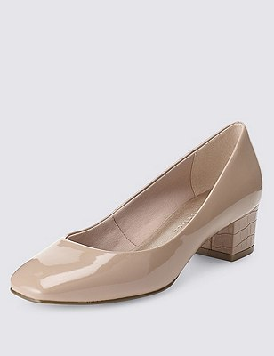 Square Toe Court Shoes with Insolia®, CARAMEL, catlanding