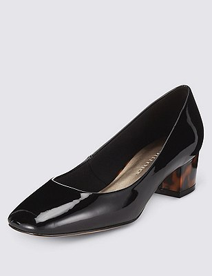 Square Toe Court Shoes with Insolia®, BLACK PATENT, catlanding