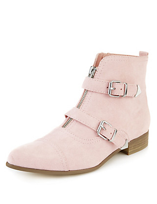 Pointed Toe Monk Ankle Boots with Insolia Flex® Clothing