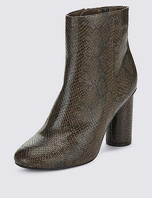 Cylinder Heel Ankle Boot, KHAKI, catlanding