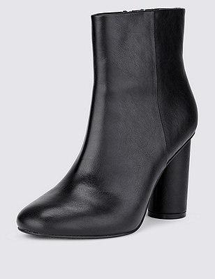 Cylinder Heel Ankle Boot, BLACK, catlanding