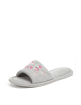 Open Toe Embroidered Heart Mule Slippers