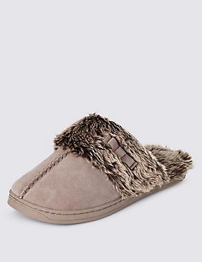 Freshfeet™ Suede Faux Fur Trim Mule Clogs with Silver Technology, MINK, catlanding