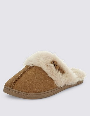 Freshfeet™ Suede Faux Fur Trim Mule Clogs with Silver Technology, , catlanding