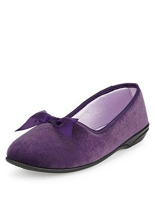 Slip-On Bow Slippers, DARK PURPLE, catlanding