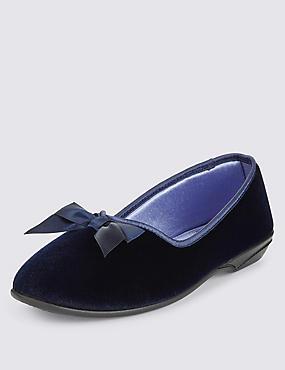 Slip-On Bow Slippers, NAVY, catlanding