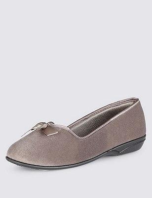 Slip-On Bow Slippers, MINK, catlanding