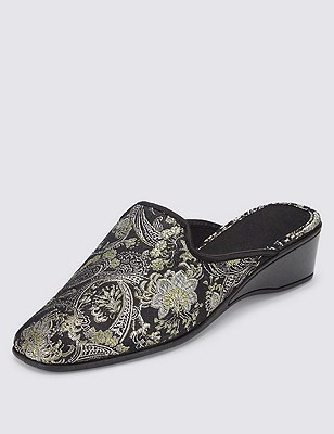 Paisley Embroidered Wedge Mule Slippers, SILVER MIX, catlanding