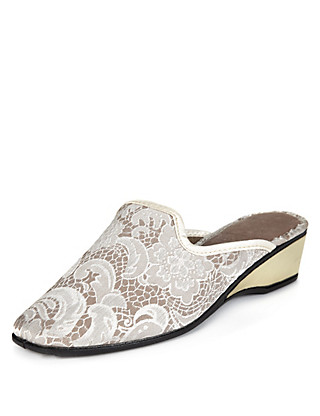 Floral Lace Wedge Slippers Clothing