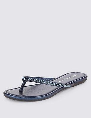 Skinny slippers met glittersteentjes, NACHTBLAUW, catlanding