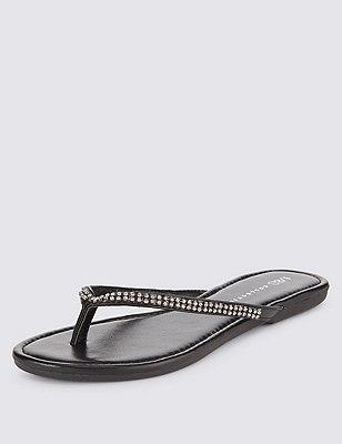 Skinny slippers met glittersteentjes, ZWART, catlanding