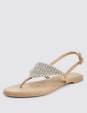 Diamanté Chain Mail Sandals, NATURAL, catlanding
