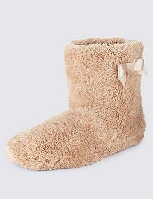 Faux Fur Side Bow Slipper Boots, STONE, catlanding