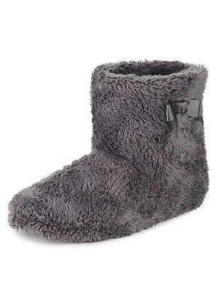 Faux Fur Side Bow Slipper Boots, CHARCOAL, catlanding