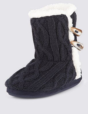 Cable Knit Toggle Slipper Boots, NAVY, catlanding