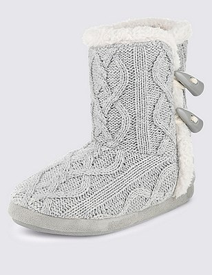 Cable Knit Toggle Slipper Boots, GREY, catlanding