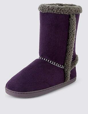 Faux Fur Lined Slipper Boots, PURPLE, catlanding
