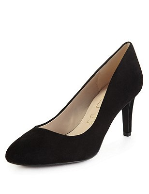 Suede Mid Heel Court Shoes with Insolia®, BLACK, catlanding