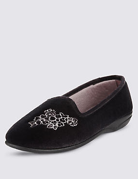 Floral Embroidered Pump Slippers, CHARCOAL, catlanding