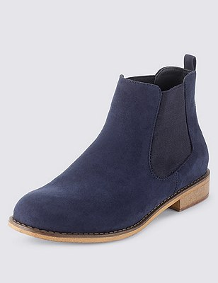 Faux Suede Chelsea Ankle Boots with Insolia Flex®, NAVY, catlanding