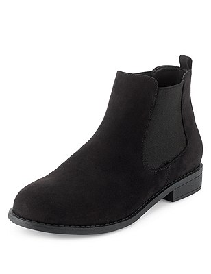 Faux Suede Chelsea Ankle Boots with Insolia Flex®, BLACK, catlanding