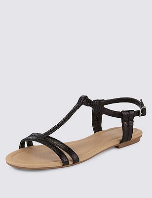 T-Bar Sandals, BLACK, catlanding