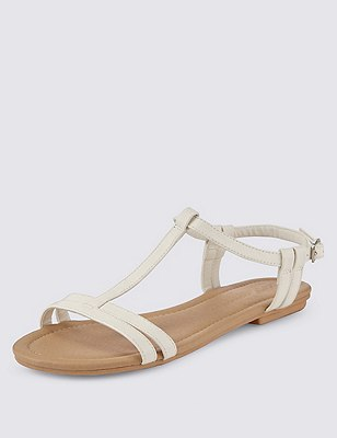 T-Bar Sandals, WHITE, catlanding