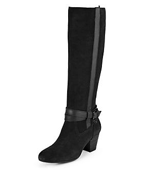Stretch Zip Long Boots, BLACK, catlanding