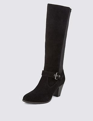 Suede Stretch Zip Buckle Riding Boots, BLACK, catlanding