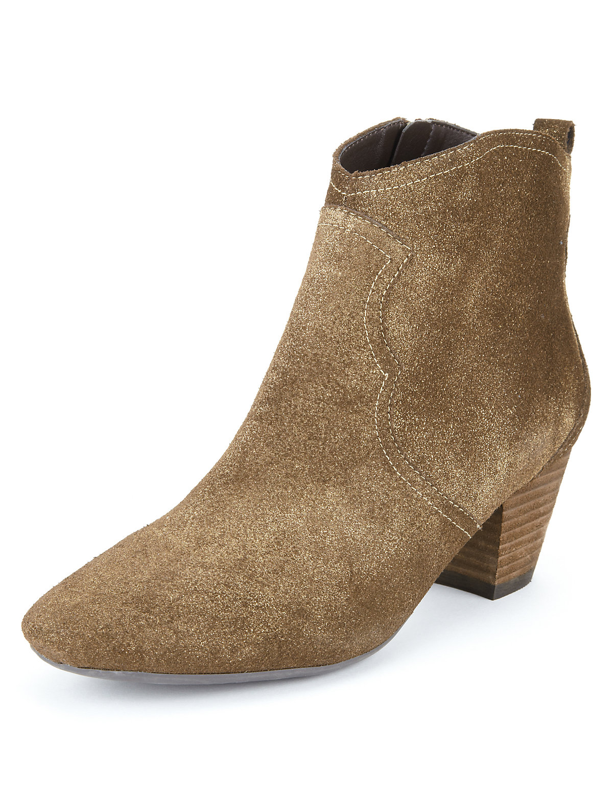 Suede Heeled Western Ankle Boots with Insolia®