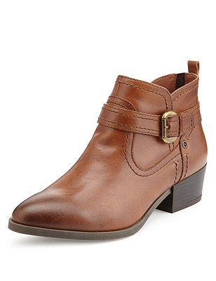 Leather Ankle Boots with Insolia®, TAN, catlanding