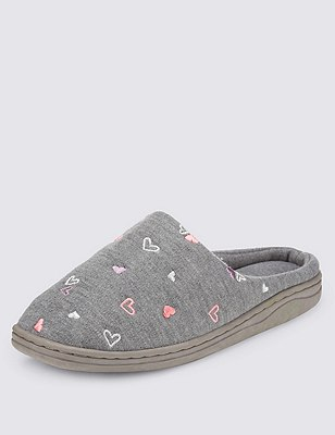 Secret Support™ Heart Embroidered Mule Slippers, GREY MIX, catlanding