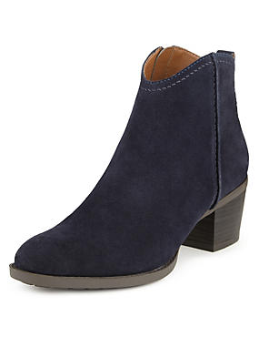 Stain Away™ Suede Block Heel Ankle Boots with Insolia®