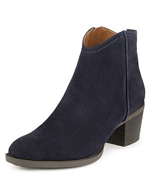 Stain Away™ Suede Block Heel Ankle Boots with Insolia®, NAVY, catlanding