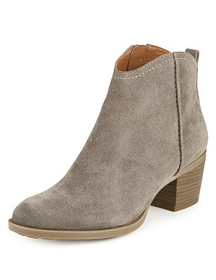 Stain Away™ Suede Block Heel Ankle Boots with Insolia®, GREY, catlanding